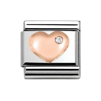 Buy Nomination CZ Rose Gold Raised Heart