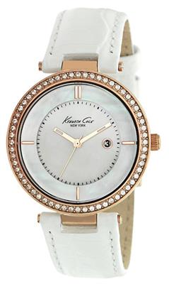 Buy Kenneth Cole Ladies Rose Gold White Leather Watch