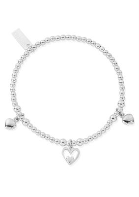 Buy ChloBo Silver Cute Triple Heart Charm Bracelet