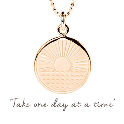 Buy Mantra One Day at a Time Sunrise Necklace in Rose Gold