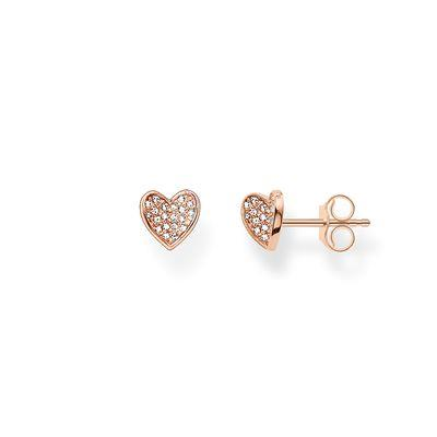 Buy Thomas Sabo Sparkling Heart Rose Gold CZ Studs 0.7cm