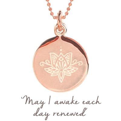 Buy Mantra Lotus Renewed Disc Necklace in Rose Gold