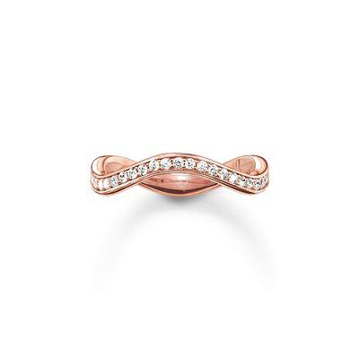Buy Thomas Sabo Rose Gold Eternity of Love Wave Ring, Size 56
