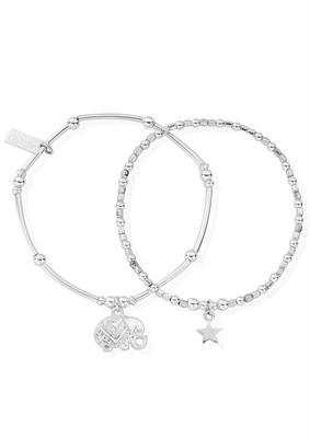 Buy ChloBo Silver Lucky Set of 2 Bracelets