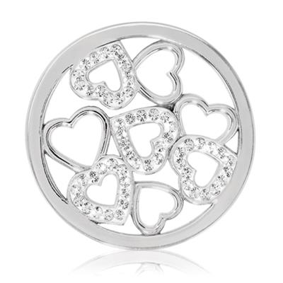 Buy Nikki Lissoni Silver Sparkling Hearts Coin 33mm