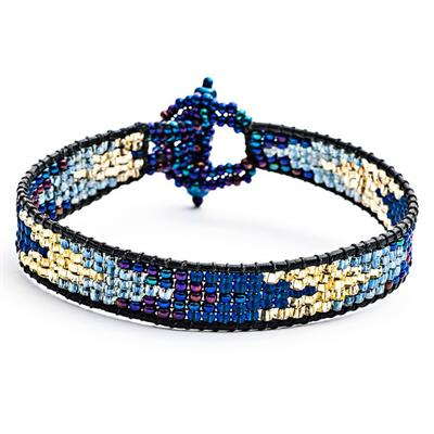 Buy Azuni Navy Loom Chevron and Leather Cord Bracelet