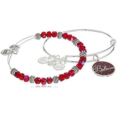 Buy Alex and Ani Believe Wine Colour Infusion bangle Set in Shiny Silver