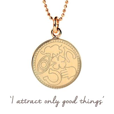 Buy Mantra Lucky Symbols Disc Necklace in Gold