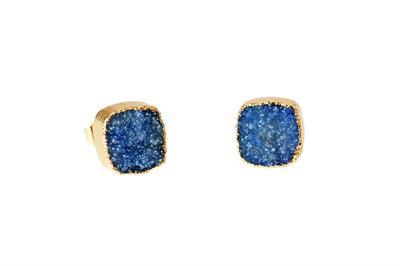 Buy Druzy Blue Agate Square Studs