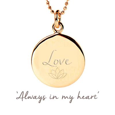 Buy Mantra Love Disc Necklace in Gold