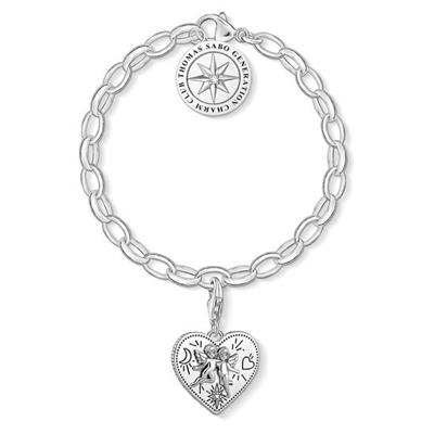 Buy Thomas Sabo Silver Limited Edition Charm Bracelet with Angel Heart Charm, 17cm