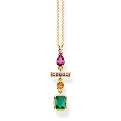 Buy Thomas Sabo Gold Colourful Multi Drop Necklace