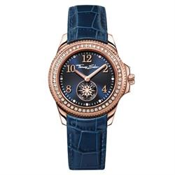 Rose Gold Blue Leather Ladies Watch