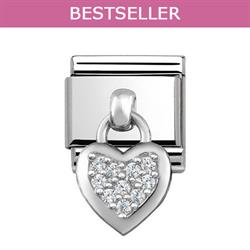 Silver Hanging Heart Charm with CZ Embellishment