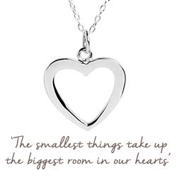 Open Heart Family Necklace in Silver