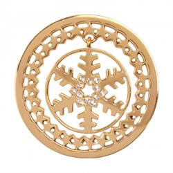 Yellow Gold Snowflake Dangle Coin 33mm