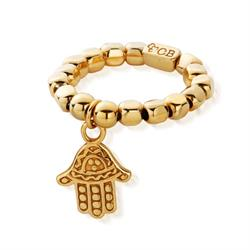 Gold Chunky Hamsa Hand Ring Size Small