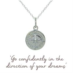 Compass Mantra Necklace in Silver