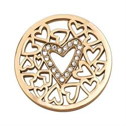 Yellow Gold Surrounded By Hearts Coin 33mm