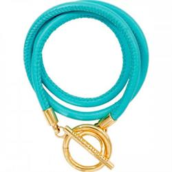 Nikki Lissoni Sale Turquoise and Gold Leather Wrap Bracelet 19cm