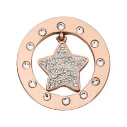 Rose Gold Swarovski Twinkle Star 23mm Coin