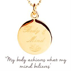 Yoga Body & Mind Mantra Necklace in Gold
