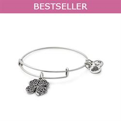 Four Leaf Clover Disc bangle in Rafaelian Silver Finish