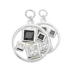 Silver Squared Crystal 15mm Earring Coins