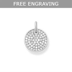 Silver CZ Pave Coin Pendant