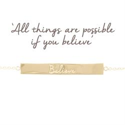 Mantra Jewellery Believe Bar Bracelet in Gold