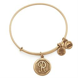 R Initial Bangle in Rafaelian Gold