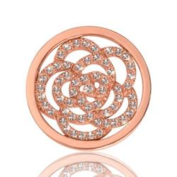 Rose Gold Sparkling Flower Coin 23mm