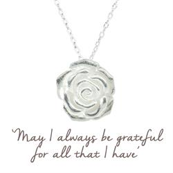 Grateful Rose Mantra Necklace in Silver