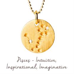 Pisces Star Map in Gold