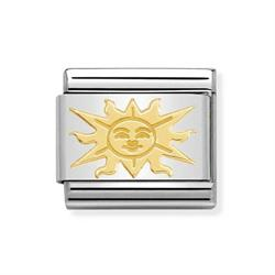 Gold Sun With Face Charm