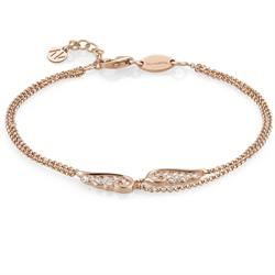 Rose Gold Double Strand Angel Wing Bracelet
