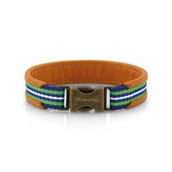 Cruise Tan Leather Bracelet Green Large
