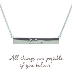 Silver Mantra Believe Bar Necklace