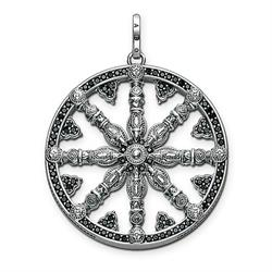 Oxidised Silver CZ Wheel of Karma Pendant