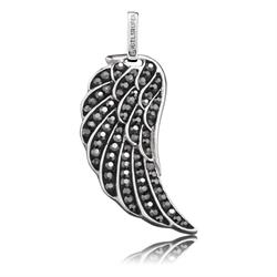 Sterling Silver Grey Crystal Angel Wing Pendant