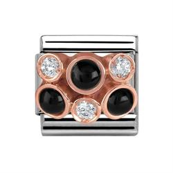 Buy Nomination Rose Gold, CZ & Black Agate Cluster