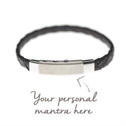 men' personalised leather bracelet black