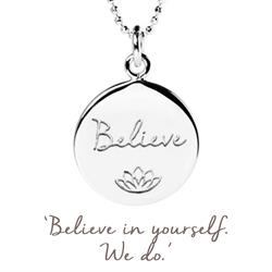 Mantra Believe Necklace in Silver