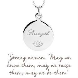 Strength Disc Mantra Necklace in Silver