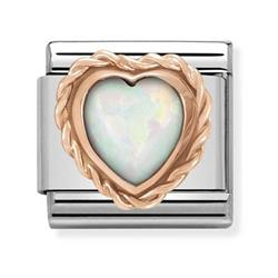 Nomination Rose Gold White Opal Heart Charm
