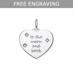 Engravable Heart CZ To The Moon and Back Pendant