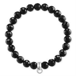 Faceted Black Obsidian L Charm Club Bracelet