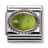 Peridot and Silver Frill Oval Stone