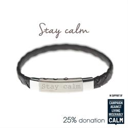 Black, Stay Calm, CALM Charity Bracelet by Mantra