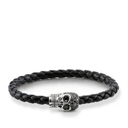 Rebel at Heart Black Leather Skull Bracelet